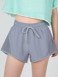 Hollow Out Overlay Pocket Sports Shorts - Blue Gray M