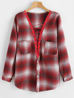 Button Up Lace Up Plaid Blouse - Cherry Red Xl