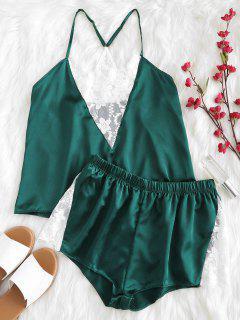 Conjunto De Pijama Cami De Malla Bordada En Satén - Verde Oscuro S