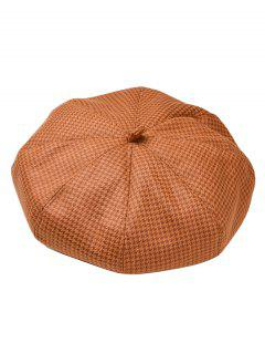 Houndstooth Pattern Octagonal Beret Cap - Tiger Orange