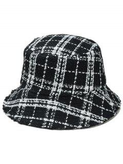 Plaid Wide Brim Fisherman Hat - Black