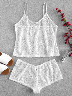 Conjunto De Pijama De Lencería De Encaje Transparente Sexy - Blanco L