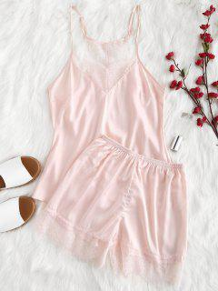 Racerback Satin Cami Top Und Shorts Pyjama Set - Helles Rosa Xl