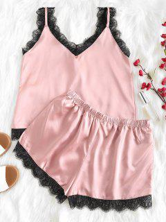 Scalloped Cami Top And Shorts Pajama Set - Lipstick Pink L