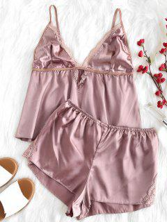 Conjunto De Pijama Cami Top Y Shorts - Lápiz Labial Rosa S
