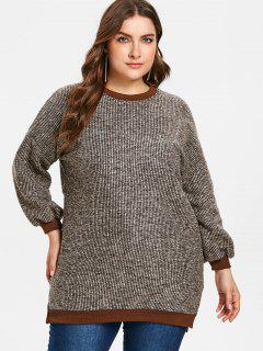 Plus Size Slit Tweed Tunic Sweatshirt - Multi 3x