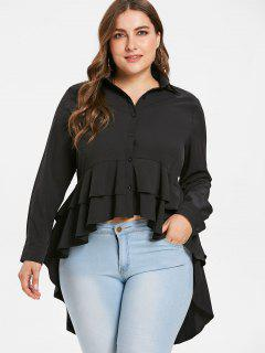 Plus Size Peplum High Low Blouse - Black 3x