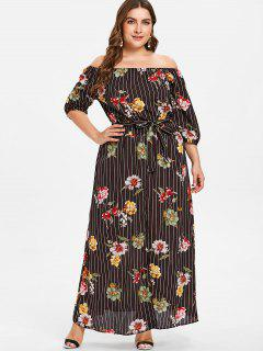 Plus Size Striped Flower Smocked Dress - Black 3x