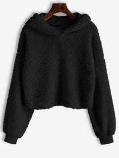 Loose Fit Faux Fur Hoodie - Black L