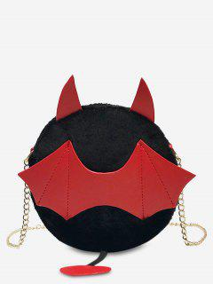 Faux Fur Halloween Bat Crossbody Bag - Black