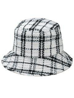 Plaid Wide Brim Fisherman Hat - White