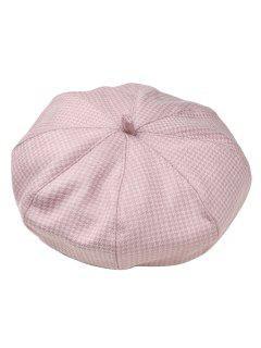 Houndstooth Pattern Octagonal Beret Cap - Light Pink