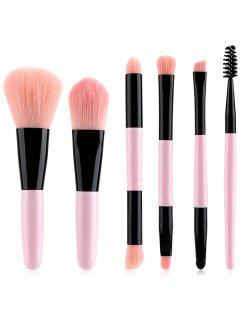 Cosmetic 6Pcs Double Ended Ultra Soft Travel Makeup Brush Suit - Pink Regular