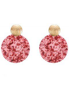 Geomteric Round Shaped Earrings - Red