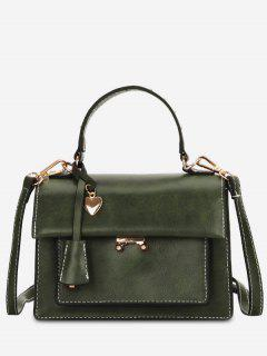Minimalist Heart Shape Solid Handbag - Army Green