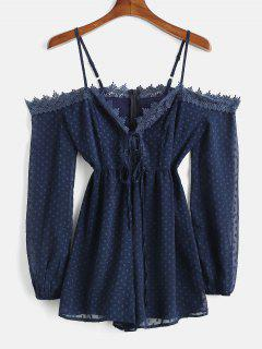 Cold Shoulder Long Sleeve Romper - Deep Blue S