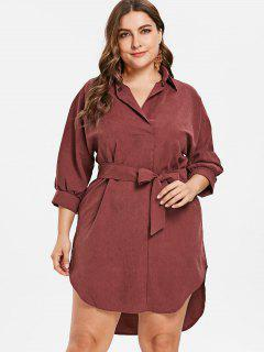Plus Size Belted High Low Dress - Blood Red 2x