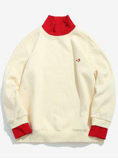 Contrast Ribbed Edge Fleece Sweatshirt - White M