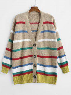 Cárdigan A Rayas Multicolor Con Cuello En V - Multicolor