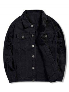 Casual Solid Color Ripped Jacket - Black 3xl