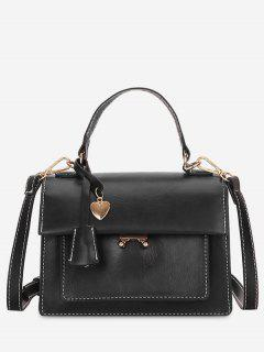 Minimalist Heart Shape Solid Handbag - Black