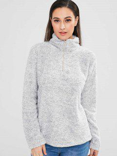 Half Zip Faux Fur Sweatshirt - Light Gray L