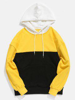Contract Color Kangaroo Pocket Hoodie - Mustard Xl