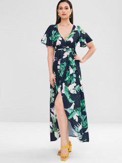 Vestido Maxi Con Pliegues Y Hojas De Palma ZAFUL - Multicolor S