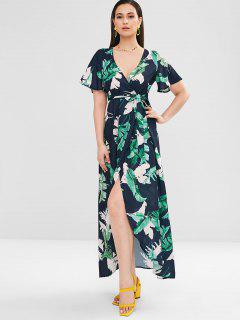 ZAFUL Palm Leaves Wrap Maxi Dress - Multi M