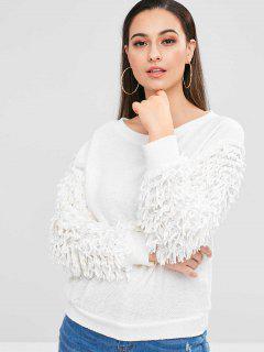 Crew Neck Fringed Embellished Sweatshirt - Warm White S