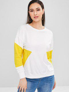 Drop Shoulder Two Tone Sweatshirt - White L