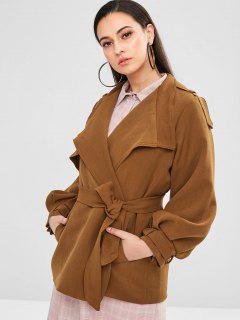 Belted Cuffs Coat With Belt - Light Brown