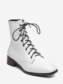 Lacing Low Chunky Heel Ankle Boots - White Eu 36