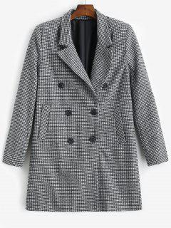 Double Breasted Wool Blend Houndstooth Coat - Black L