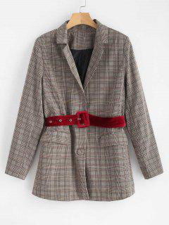 Button Up Belted Plaid Blazer - Multi S