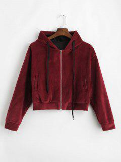 Side Pockets Velvet Zip Up Hoodie - Red Wine M