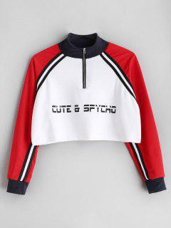 Letter Half Zipper Sweatshirt - White