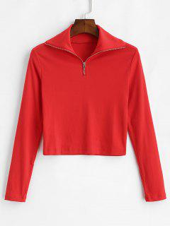 Zipped Cropped Tee - Red L