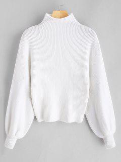 Lantern Sleeve Mock Neck Plain Sweater - White