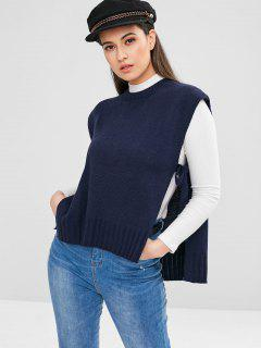 Knotted High Low Vest Sweater - Midnight Blue