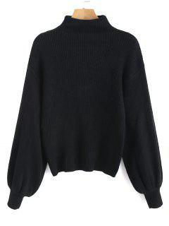 Lantern Sleeve Mock Neck Plain Sweater - Black