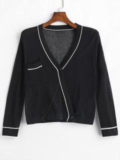 Pocket Button Up Knit Cardigan - Black