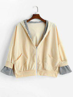 Side Slit Hooded Oversized Jacket - Blanched Almond M