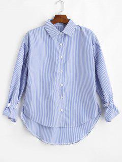 Chemise Fendue à Rayures Basses - Bleu