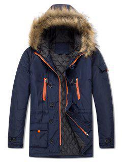 Pockets Casual Zipper Parka Coat - Cadetblue L
