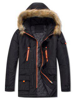 Pockets Casual Zipper Parka Coat - Black M