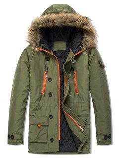 Pockets Casual Zipper Parka Coat - Army Green Xs