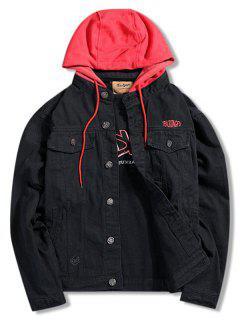 Embroidery Color Block Hooded Denim Jacket - Black 2xl
