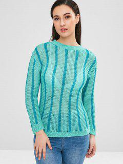 Chandail Pull-over Lâche Rayé En Tricot - Turquoise Moyenne