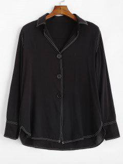 Button Up Longline High Low Blouse - Black M